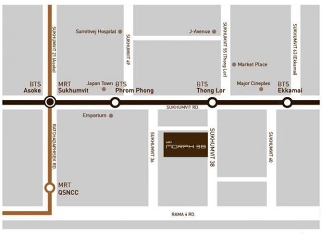 Location map of Ideo Morph 38 condo Bangkok